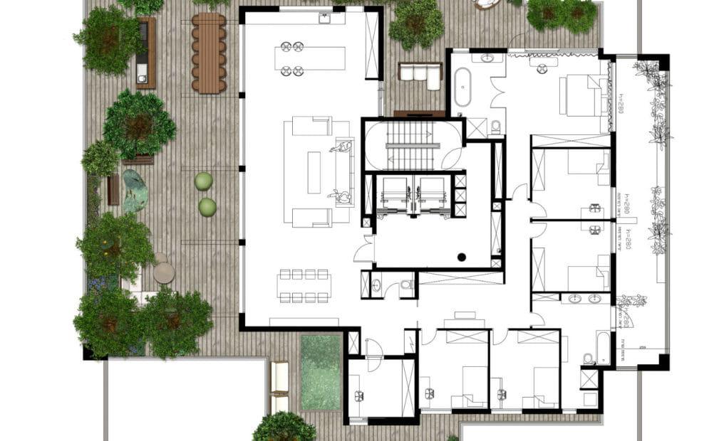 תכנית המחשה להדמיית גינה על גג