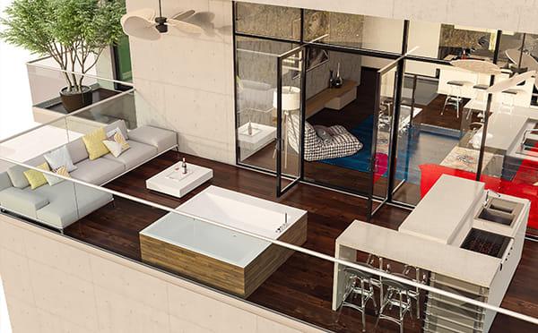 הדמיות שבוצעו עבור מעצבת פנים שהשתתפה בתחרות תכנון דירה במגזין בניין-ודיור