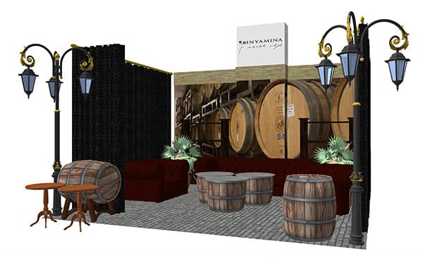 הדמיה וליווי תכנון של ביתן לתערוכת יין עבור יקב בנימינה