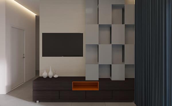 הדמיה ותכנון רהיט מזנון וקיר טלוויזיה בהתאמה אישית