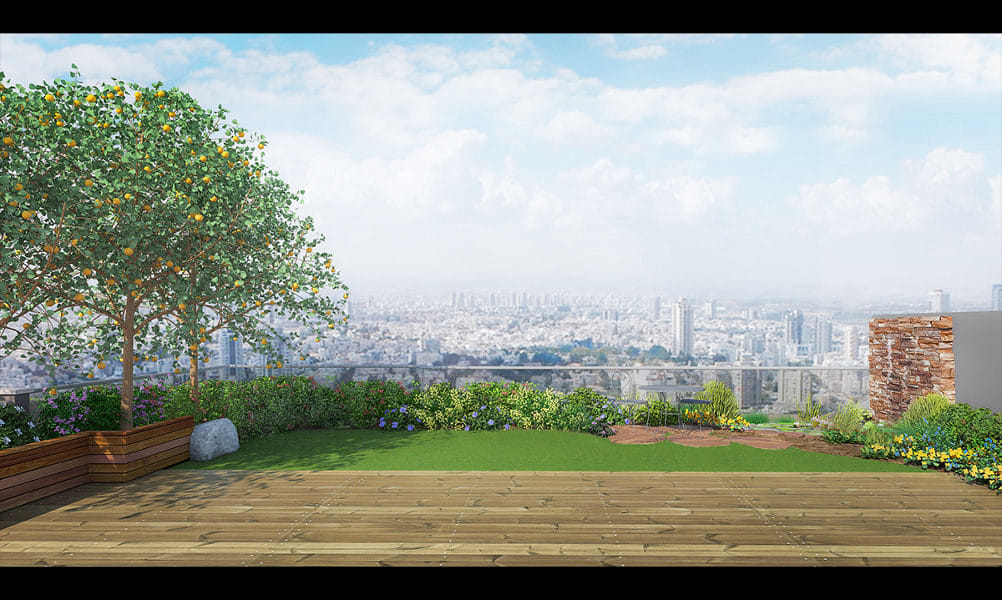 הדמיית גינת גג בפנטאוז בפתח-תקווה