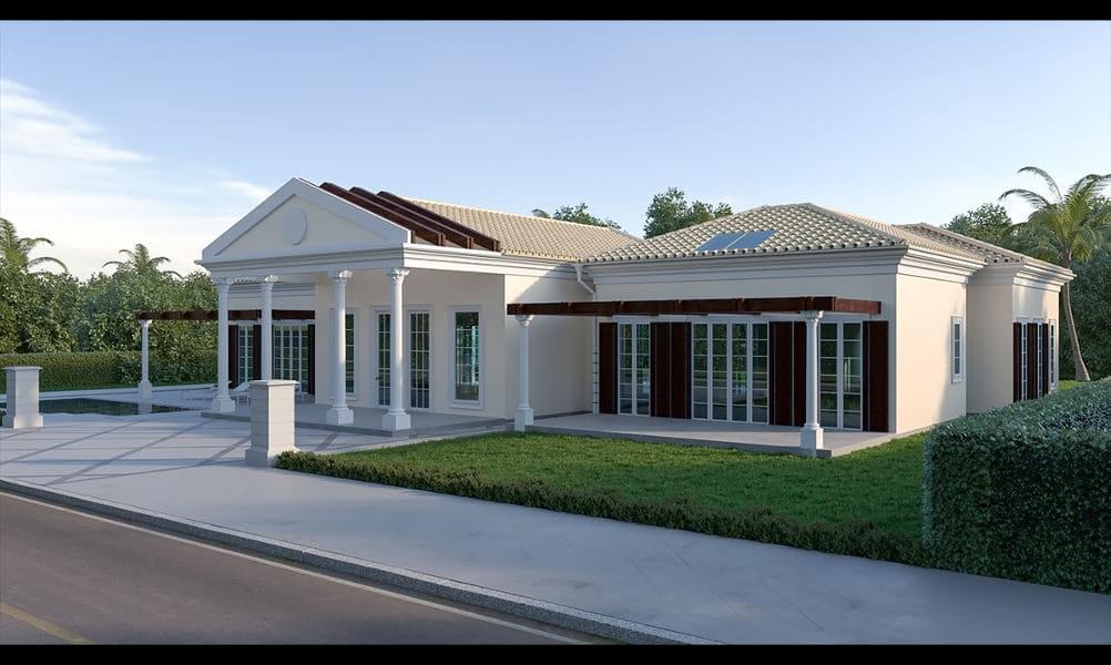 הדמיות שבוצעו עבור היתר בניה לוילה בסגנון כפרי-קלאסי במועצה אזורית גן רווה