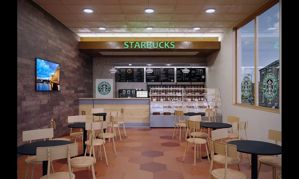 הדמיות לזכיין רשת Starbucks בבנין לשימור, לונדון, אנגליה