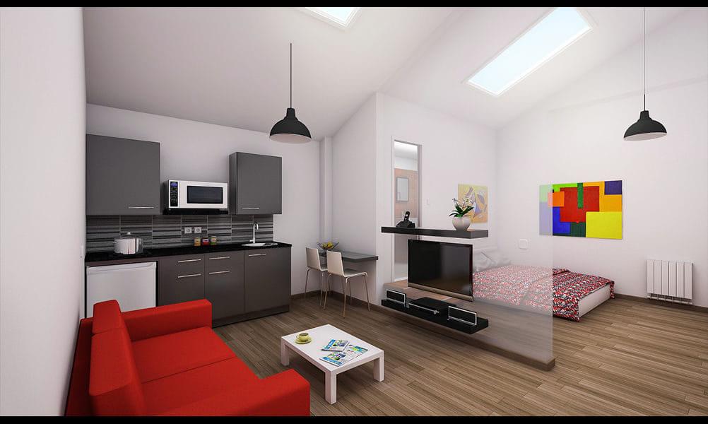 הדמיות של דירה לדוגמא בפרויקט מגורים לסטודנטים באנגליה