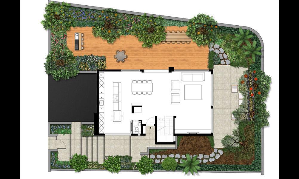 תכניות דו-מימד להמחשת גינות בבתים פרטיים ברחבי ישראל